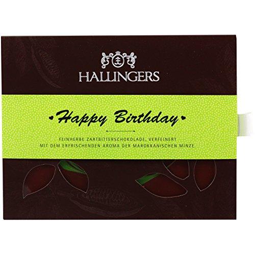 Hallingers Zartbitter-Schokolade mit Minze hand-geschöpft (90g) - Happy Birthday (Tafel-Karton) - zu Geburtstag & Glückwunsch