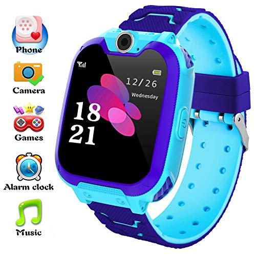 Reloj Inteligente para Niños La Musica y 7 Juegos, Smart Watch Phone, 2 Vías Llamada Despertador de Cámara Reloj Niño y Niña Regalo (Azul)