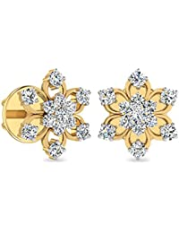 PC Jeweller The Rossalene 18KT Yellow Gold & Diamond Earring