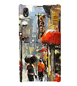 Multicolour Painting of a Street 3D Hard Polycarbonate Designer Back Case Cover for Sony Xperia Z1 :: Sony Xperia Z1 Honami :: Sony Xperia Z1 C6902/L39h :: Sony Xperia Z1 C6903 :: Sony Xperia Z1 C6906 :: Sony Xperia Z1 C6943