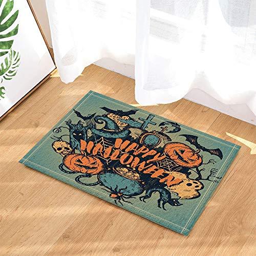 XHWL767 Fröhliches Halloween mit Hexenhut Kürbis und Katzendekor-Badteppichen 40X60 cm Küchenbadezubehör
