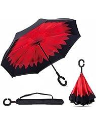 Parapluie Inversé Double Couche Parapluie Pliant Mains Libres poignée en forme C Idéal pour Voiture et Voyage Parapluie Inverse Automatique (Carmin, 106×80cm/41.7×31.5inch)