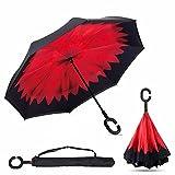 SKY TEARS Double Couche Parapluie inverse de Voyage Automatique Inversé Automatiqu Coupe-Vent Anti-UV Soleil Pluie Meilleur Compact Voyage Parapluie Pour La Voiture (Carmin)