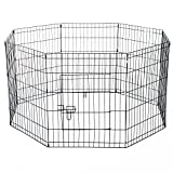 PawHut 8 Panel Pet Cage Playpen Dog Puppy Rabbits Guinea Metal Crate Fence Run Cage Kennel Indoor Outdoor (24-inch)