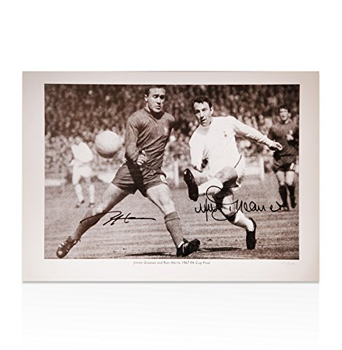 Ron Harris y Jimmy Greaves foto firmada a mano