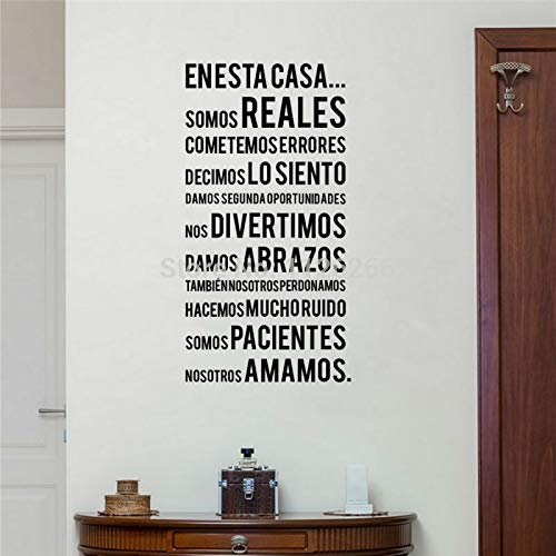 yiyiyaya Spanische Familienregeln Wandaufkleber EN ESTA CASA Wörter Schriftzug Vinyl Aufkleber fürWohnkultur 30 * 58 cm (Spanisch Wörter Halloween)