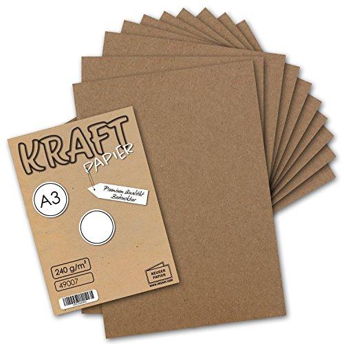 50x Vintage Kraftpapier DIN A3 240 g/m² natur-braunes Recycling-Papier, 100% ökologisch Bastel-Karton Einzel-Karte I UmWelt by GUSTAV NEUSER® -