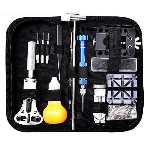 Dobee 153 pezzi tool kit di riparazione orologi, orologiaio strumenti riparazione set professionale orologio attrezzi portable tool kit orologiaio