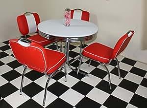 Budget Diner américain années 50 Style rétro Rouge clouté Table et 4 chaises