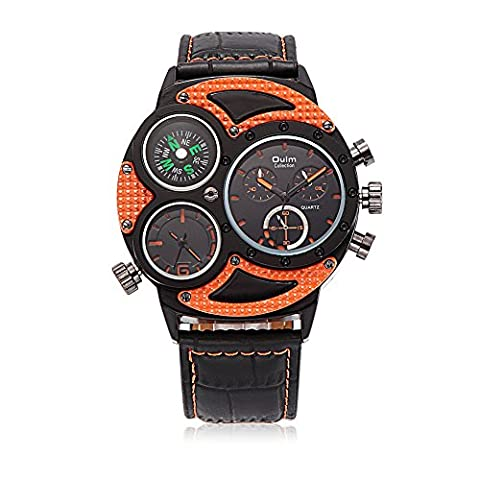 HongBoom Luxury Genuine Leather Band Two Movement Compass Orange Wrist