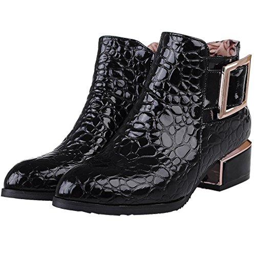 ENMAYER Femmes En Cuir Verni Cachemire Mode Plate-Forme Bout Pointu Zip Bloc Mi Talon Cheville Bottes Moto Bottes noir2