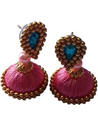 IRENES Ethnic Jhumka Earrings For Women Of Colour Pink Made Of Silk Thread And Medium Size (1 Pair)