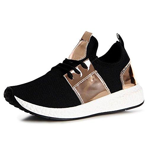 topschuhe24, Sneaker donna oro nero