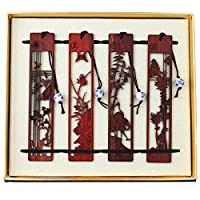 Red Sandalwood Bookmarks 4pcs Set Handmade Carving Craft with Gift Box Best for Christmas Birthday Gift