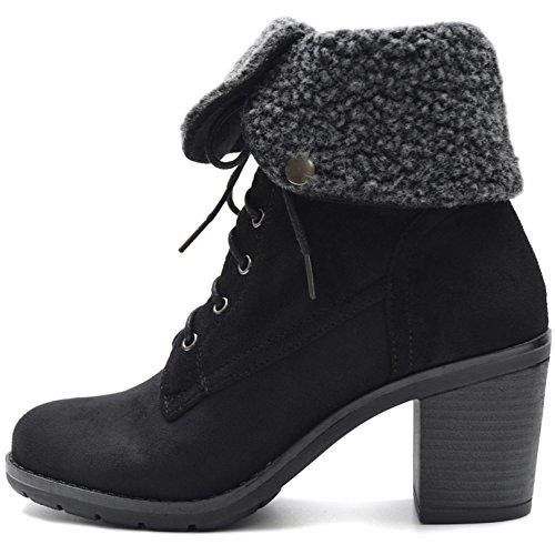 Vain Secrets Damen Worker Boots Stiefeletten gefüttert in Schwarz Oder Braun Schnüren (39, Schwarz)