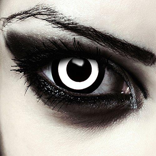 Lenti a contatto colorate bianco pauroso 17 millimetri mini sclera occhio pieno senza diottrie per halloween zombie costume + gratis caso di lenti modello