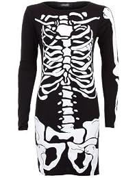 SAPHIR femmes crâne squelette os manches longues imprimé femmes moulant court Robe 8-14