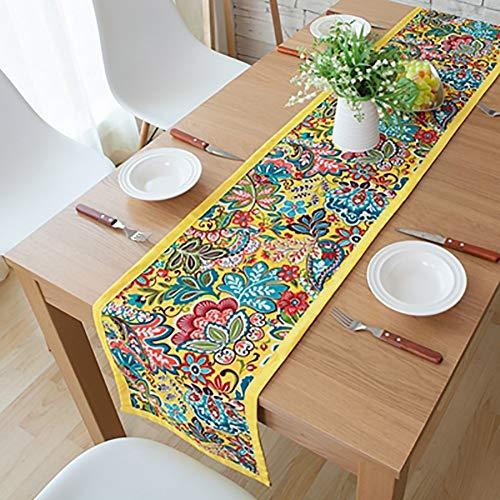 XQY Haupttischdecke, rechteckige Tischdecke des Tisches, Hotel-Restaurant-Tischdecke, ethnischer Art-Tischläufer-polychromes Blumen-Tischset,Gelb,33 * 160 cm - Mittlere Rechteckige Couchtisch