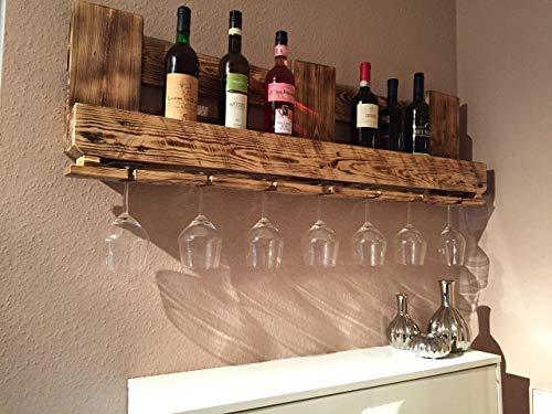 """Weinregal Palettenmöbel """"Bergamo"""" aus Paletten Weinregal, Küchenregal, Gewürzregal mit Glashalter Handgefertigt"""