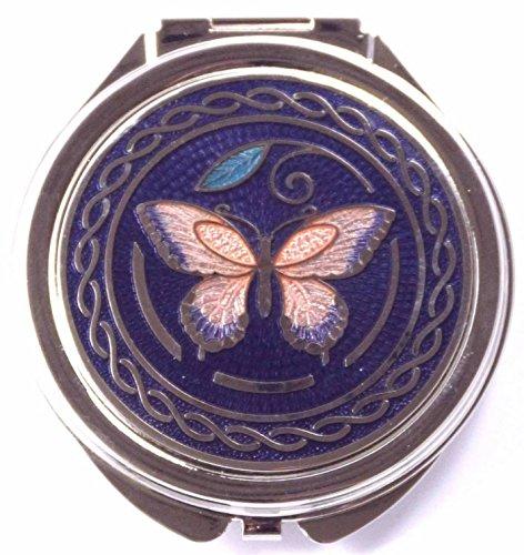 Miroir Compact avec design papillon en émail