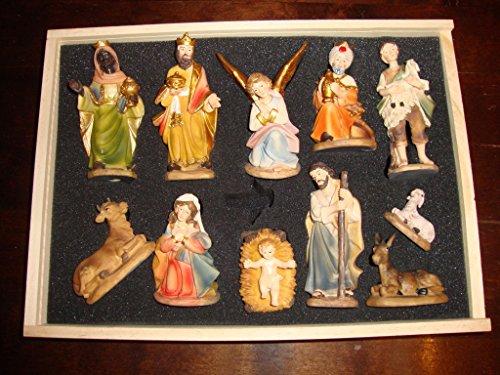 Figuren für viele Holz Weihnachtskrippen Maria Josef Weise sehr hochwertig handbemalt Geschenkbox KFG-Box Holzfiguren-OPTIK handbemalt und GEBEIZT - präsise saubere Gesichtszüge Mienen natürliche Mimik