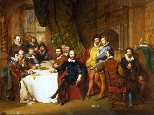 Posterlounge Alu Dibond 160 x 120 cm: Shakespeare and his Friends at The Mermaid Tavern, 1850 von John Faed/Bridgeman Images