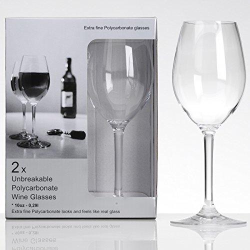 Polycarbonat Weißweinglas klar 290 ml 2 Stück Kunststoff Camping Zubehör Weinglas Trinkbecher...