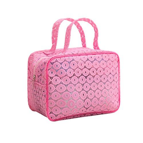 Dexinx Reise Tragbar Kleidertaschen Packing Cubes Organizer für Toilettenartikel Wasserdicht Kosmetik Aufbewahrungstasche Pink1 S