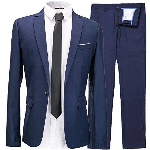 INFLATION Klassisch Slim Fit Schnitt Herren 2-Teilig Anzüge Anzugsuit Men's Suit Reine Farbe Casual Sakko Anzüge Smokings Anzugjacke+Anzughose Gr.3XL Dunkelblau (Blue Man Group Kostüm)