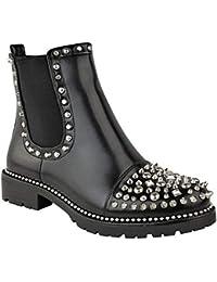 Miss Image UK Femmes CloutéÉpais Motard Gothique Punk Grunge Fermeture  Éclair Cheville Bottes Chaussures Taille 0a25c0a0f19d