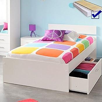 kinderbett inaco 20 wei 90x200 jugendbett mit bettkasten lattenrost matratze stauraumbett. Black Bedroom Furniture Sets. Home Design Ideas
