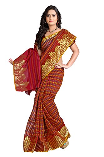 E-Vastram Net Saree (Emsm_Multi Coloured)