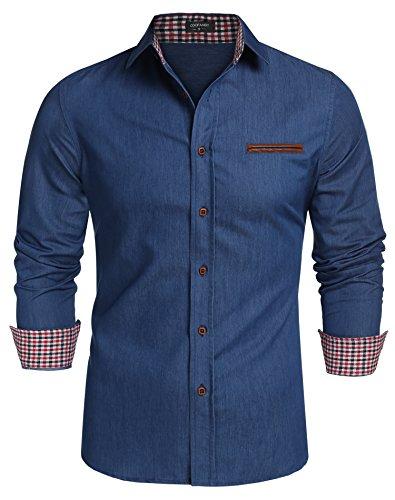 Coofandy Jeanshemden Herren regular fit Denim Shirt Langarmhemd Cowboy-Style Freizeit Hemden , Farbe - Skyblue , Gr. - Blaues T Shirt Für Erwachsene Kostüm
