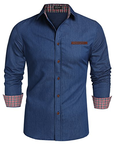 Coofandy Jeanshemden Herren regular fit Denim Shirt Langarmhemd Cowboy-Style Freizeit Hemden , Farbe - Skyblue , Gr. S (Langarm Vintage-polo-shirt)