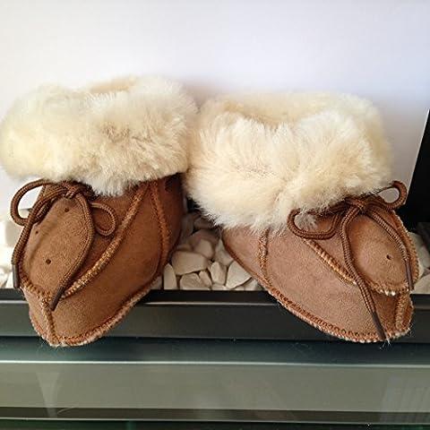 Baby Toddler Merino Sheepskin Wool Fur Slippers Warm Booties Boys Girls - 14cm