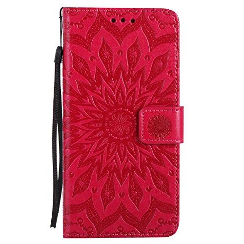 Per Custodia iphone 7 plus, Ekakashop Cover in PU Pelle - Progettato per iphone 7 plus Ragazza Ragazzo Vintage Moda Colorate Sunflower Girasole Rilievo Pattern Disegno Materiale PU Leather Magnetico F Rosso