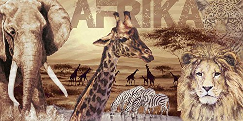 Artland Qualitätsbilder I Glasbild Afrika Safari Wildtiere I Größe 100 x 50 cm I Wandbild Dschungel Bild Löwe Elefant Giraffe A1LZ