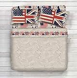 Completo Lenzuola 100% Cotone - Disegno Bandiera, Bandiere USA, Inglese, Americana (Beige, 1 Piazza e Mezza)