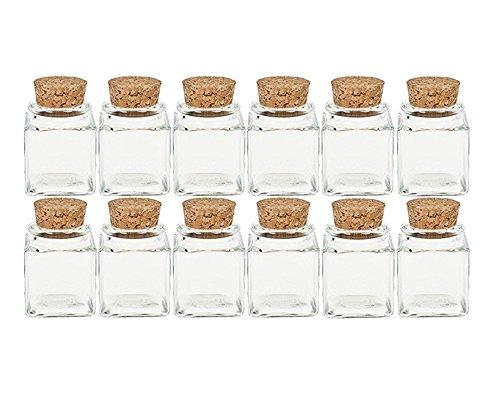 Gewürzgläser Set mit Press-korken | 12 teilig | Füllmenge 50 ml | Cub Eckig Hochwertiges Glas | Glasdose Glasgefäß ideal für Salz Pfeffer Sonnenblumenkerne kürbiskerne Kandis Bonbons Korkengläser