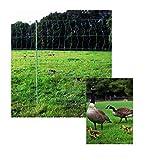 Universal-Netz mit integrierten Pfählen 50mtr. -GRÜN- 112cm hoch / 50m lang mit 15 Doppelspitzpfählen (Camping,Garten,Hund,Katze,Hasen,Welpen,Begrenzung,Mobil,Agility,Erziehung,Schafe,Hühner,Geflügel,Abwehr)