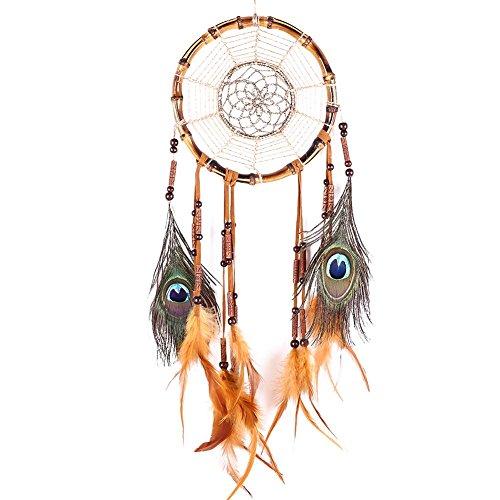 Atrapasueños de Soledi. Amuleto de la suerte proveniente de las mejores historias de la mitología de los indios americanos, bambú, marrón, Gesamtlänge: ca. 70cm = 27,5 inch