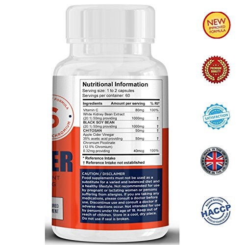 #1 CARB BLOCKER and CARB METABOLISM Tablets for Weight Loss for Women & Men.★ Contains a potent blend of WHITE KIDNEY BEAN, CHITOSAN, BLACK SOY BEAN, VITAMIN-C.★ Fast Carb Blocker for Weight Loss.★ New High strength formula for maximum and quick impact.★ BLOCKS FAT FROM BUILDING up.★ PREMIUM Quality CARB killer and 100% natural.★ HACCP Certified. Made in The UK.