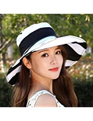 LKMNJ La Sra. Sun Software Sombreros Sombreros plegable borde ancho rayas playa ,Negro