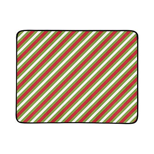 SHAOKAO Rot Grün Weiß Diagonale Streifen Tragbare Und Faltbare Deckenmatte 60x78 Zoll Handliche Matte Für Camping Picknick Strand Indoor Outdoor Reise -