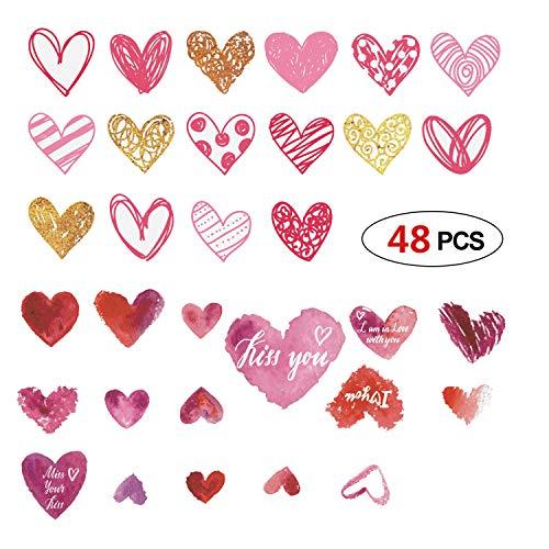 Phogary Paquete de 3 Calcomanías de pared para el Día de San Valentín 32 Patrones Amor Corazón Pegatinas, Decoraciones de San Valentín Suministros para fiestas