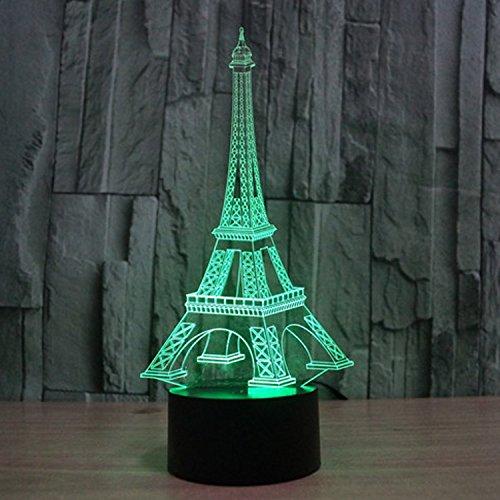 Lampe 3D ILLUSION Lichter der Nacht, kingcoo 7Farben LED Acryl Licht 3D Creative Berührungsschalter Stereo Visual Atmosphäre Schreibtischlampe Tisch-, Geschenk für Weihnachten, Kunststoff, tour Eiffel 0.50 wattsW - 4