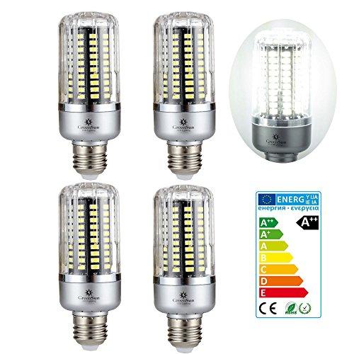 4×GreenSun 12W E27 LED Energiespar Mais Birnen SMD 5736 Hochleistungs Lampen kühles Weiß Wechselstrom 85-265V 80W Glühlampe Equivalent