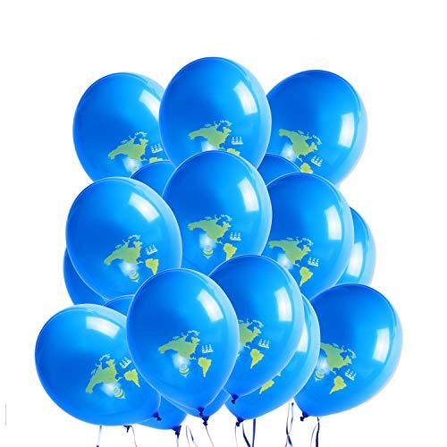 WERNNSAI Party Deko Zubehör - Global Balloon Blau Weltkarte Latex Luftballons zum Baby Shower Geburtstag Hochzeit Ruhestand Abschluss Reise Themen Party 20 Stück (12