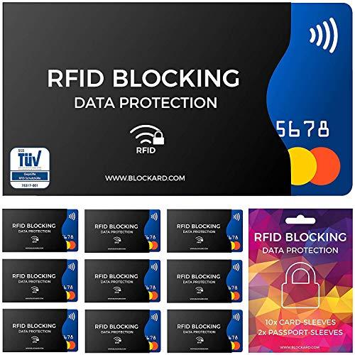 TÜV geprüfte RFID Blocking NFC Schutzhüllen (12 Stück) für Kreditkarte, Personalausweis, EC-Karte, Reisepass, Bankkarte, Ausweis - 100{244d68d004563e17f1a002daef5d645c87a057c6e5416bb25e486a253bbaedf4} Schutz gegen unerlaubtes Auslesen - Kreditkarten RFID Blocker
