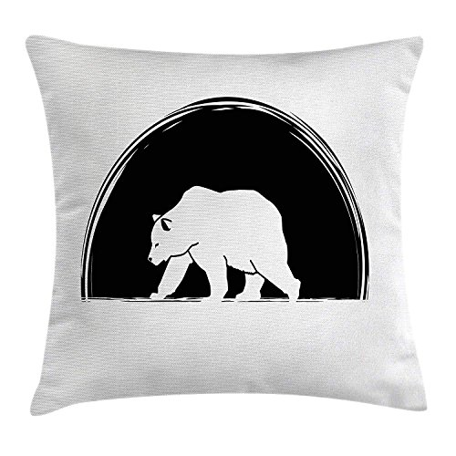 tgyew Animal Throw Pillow Cushion Cover, Big Polar Bear Walking Side View Furry Creature Arctic Mammal Illustration, Decorative Square Accent Pillow Case, 18 X 18 Inches, Black and ()